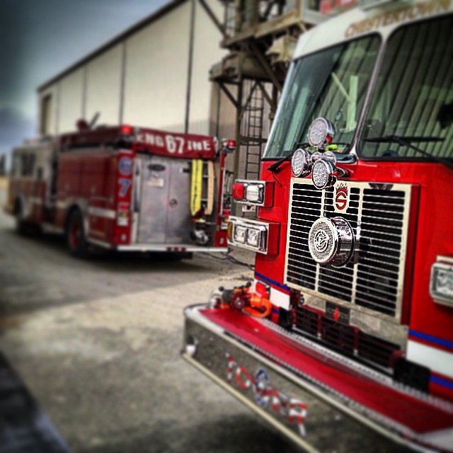 Engine 67 amp Tower 6 on location at CFF Againhellip