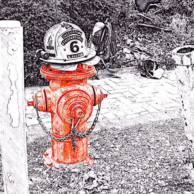 Assistant Chiefs helmet resting on top of the hydrant afterhellip