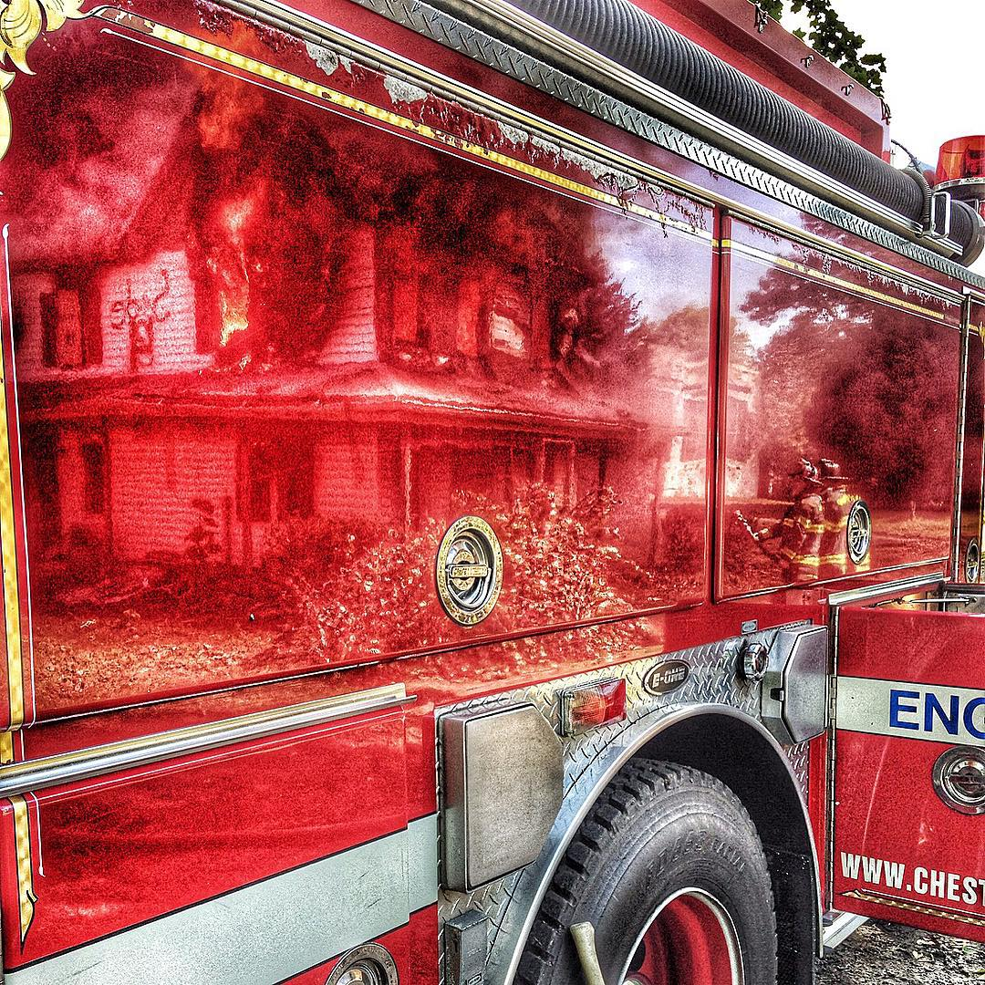 Reflection of a controlled burn on the doors of enginehellip