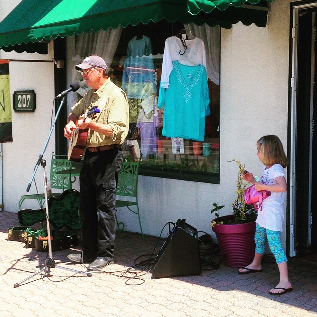 Clark Bjorke playing in front of Gabriel's for #chestertownporchfest