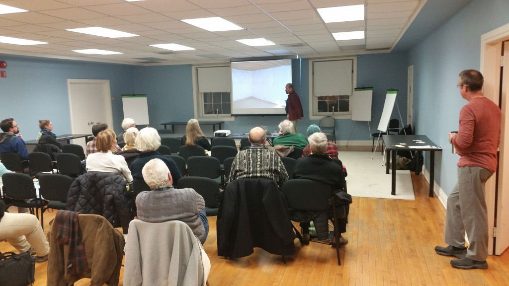 Kicking off the 2016 First Thursday Environmental Series, Ed Minch spoke about home energy assessments in Chestertown.