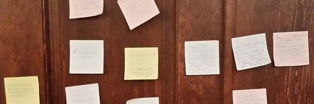 After watching Vanishing of the Bees, audience members left parting thoughts on post-it notes to share with the community.