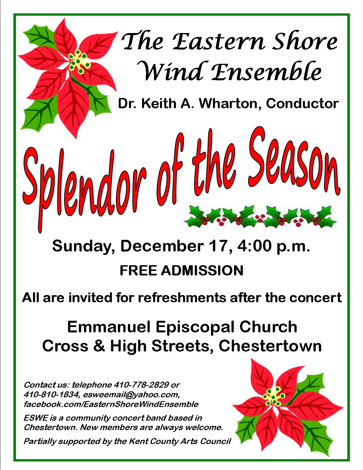 Town Of Chestertown Splendor Of The Season Free Band Concert By The