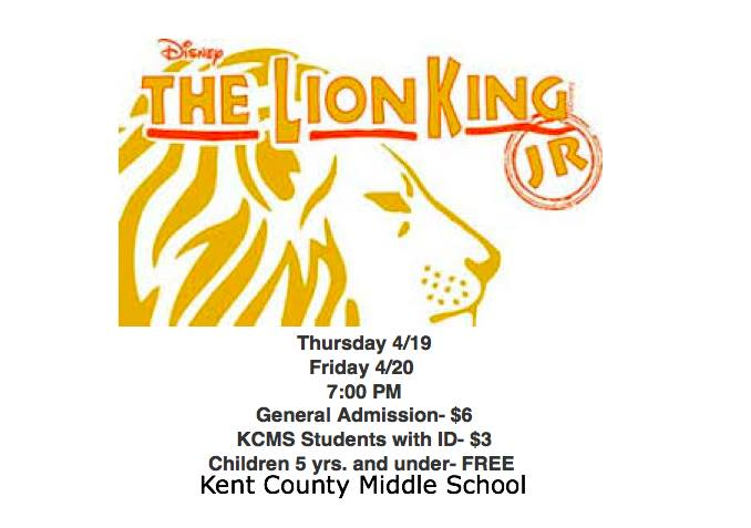 Town Of Chestertown Kcms Presents The Lion King Jr